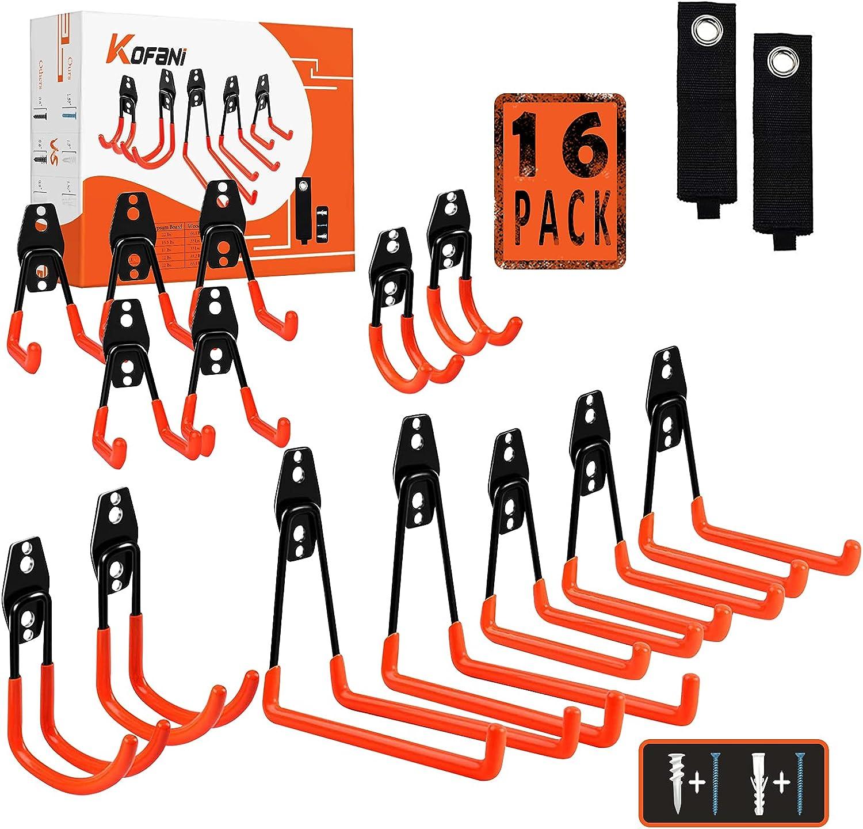 KOFANI Garage Hooks, 16 Pack Steel Heavy Duty Garage Storage Hooks with Anti-Slip Coating, Utility Garage Wall Mount Hooks for Hanging Bike, Ladder and Garden Tools