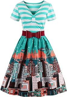 Women's V Neck Short Sleeve Stripes Patterned Swing Dress with Belt