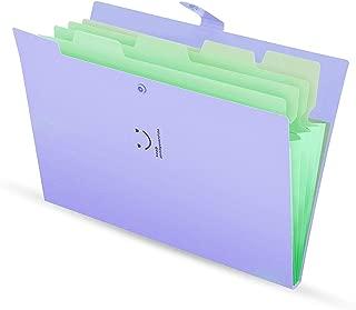 Skydue Letter A4 Paper Expanding File Folder Pockets Accordion Document Organizer (Purple)