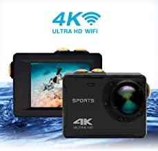 4K Action Camera, Waterproof WiFi Sports Camera Full HD 4K 25FPS 2.7K 30fps 1080P 60fps Video Camera 16MP/12MP/8MP Photo, 150 Wide Angle Lens Includes Mountings Kits (Black)