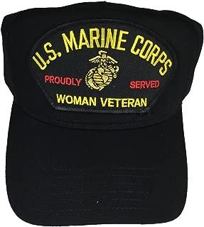 U.S.M.C. MARINE CORPS WOMAN VETERAN PROUDLY SERVED W/ LOGO HAT - BLACK - Veteran Owned Business