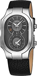 Signature Swiss Made Dual Time Zone Watch - Natural Frequency Technology Provides More Energy and Better Sleep - Analog Grey Face with Luminous Hands Black Leather Band Quartz Watch