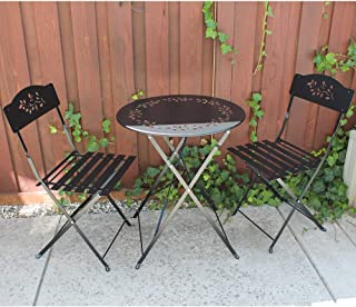 SUNSITT 3 Piece Patio Bistro Set Folding Outdoor Furniture Set Patio Table and Chairs Steel Frame (Black)