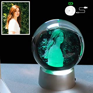 YWHL Personalized Photo 2D 80mm Crystal Ball with Colorful LED Base Etched Engraved Inside Birthday Girlfriend Gifts