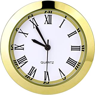 Hicarer 1-1/2 Inch (37 mm) Round Quartz Clock Insert with Roman Numerals Fit 35 mm Diameter Hole (Gold Bezel)