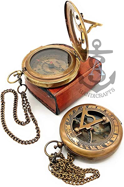 Antique Steampunk BRASS SUNDIAL COMPASS Sundial Watch With Leather Case Sundial