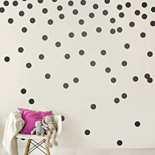 Black Wall Decal Dots (200 Decals) | Easy Peel & Stick + Safe on Walls Paint | Removable Matte Vinyl Polka Dot Decor | Rou...