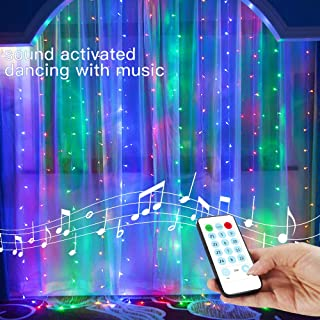 YEOLEH Colorful String Lights Curtain,USB Powered Fairy Curtain Lights for Christmas Decorations,Sound Activated Function Can Sync with Any Voice (Multicolored,7.9Ft x 5.9Ft)