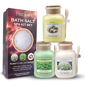 Bath Salt Gift Set, Natural Epsom Salts Scented with Essential Oils - Spa Kit with 3 Individual Pouches, Wooden Scoop, Gift Box – Detox Skin, Hydrate, Heal & Relax with Aromatherapy