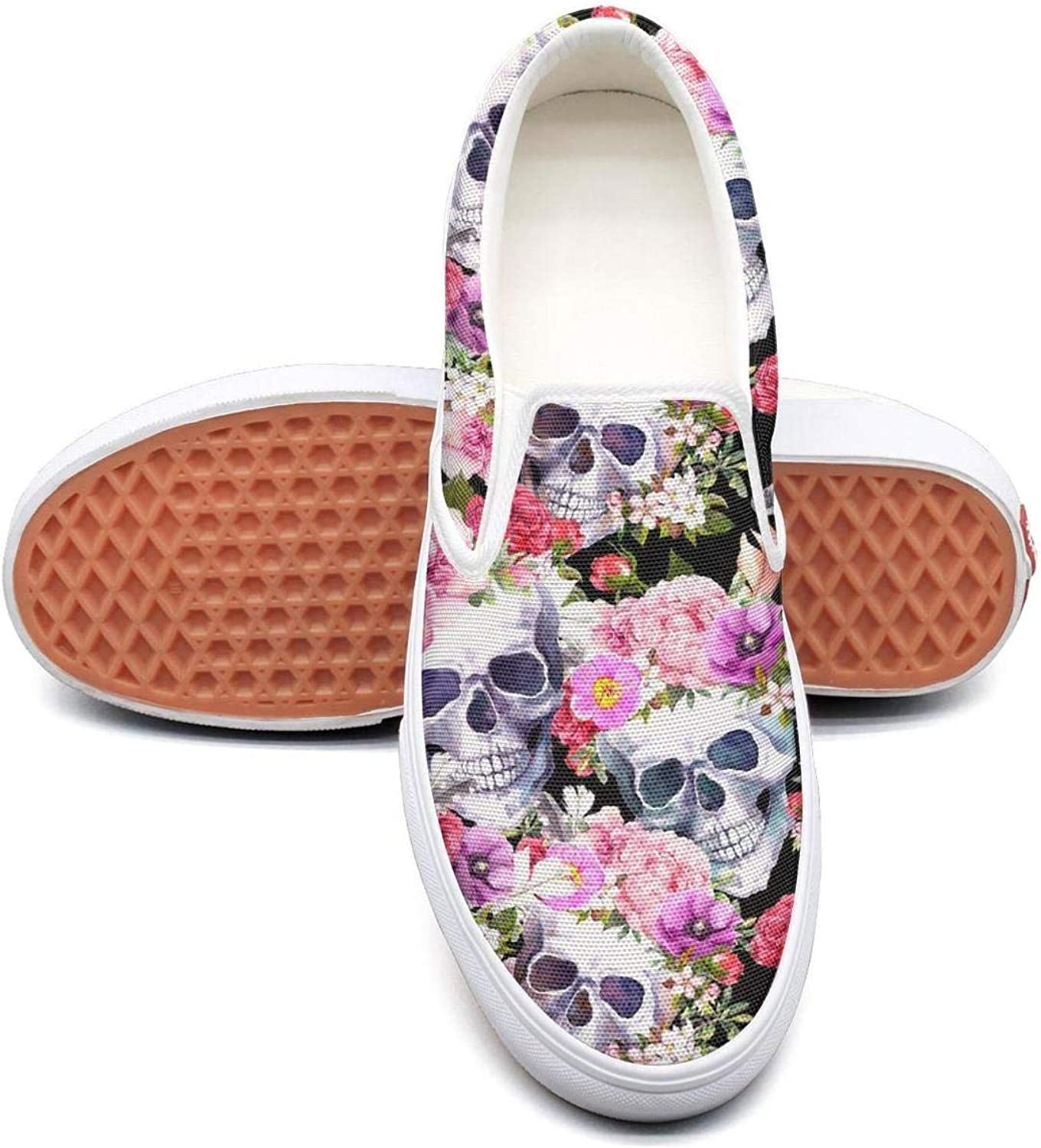 Human Skull and Flower Slip On Superior Comfort Sneakers Canvas shoes for Women Lightweight