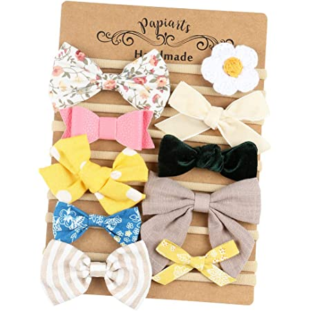 Hand Tied Fabric Bow Fall Hair Bow Clips Flowers for Girls