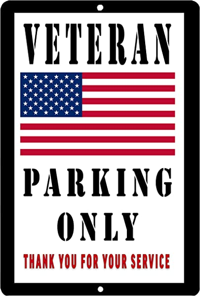 Rogue River Tactical USA Flag Veteran Parking Only Metal Tin Sign Wall Decor Man Cave Bar Military United States Of America