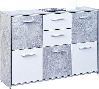 Commode Inter Link Certifiée FSC, Panneau MDF, Décor Ciment Blanc, 115 x 77 x 30 cm