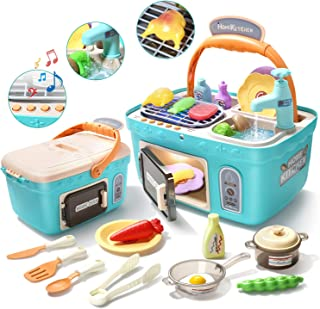 CUTE STONE Kids Picnic & Kitchen Playset,Portable Pinic Basket Toys with Musics & Lights, Color Changing Play Foods,Play Sink,Pretend Play Oven and Other Kithcen Accessories Toys for Girls and Boys