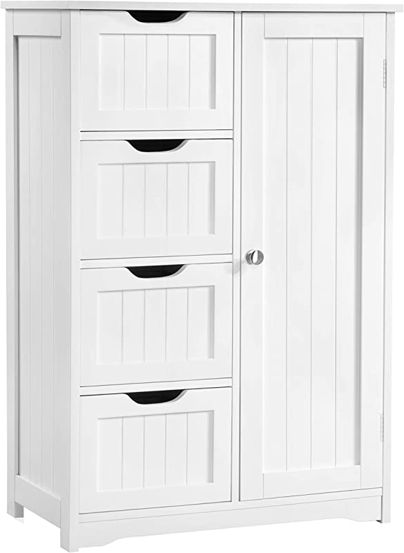 Yaheetech Wooden Bathroom Floor Cabinet Side Storage Organizer Cabinet With 4 Drawers And 1 Cupboard White