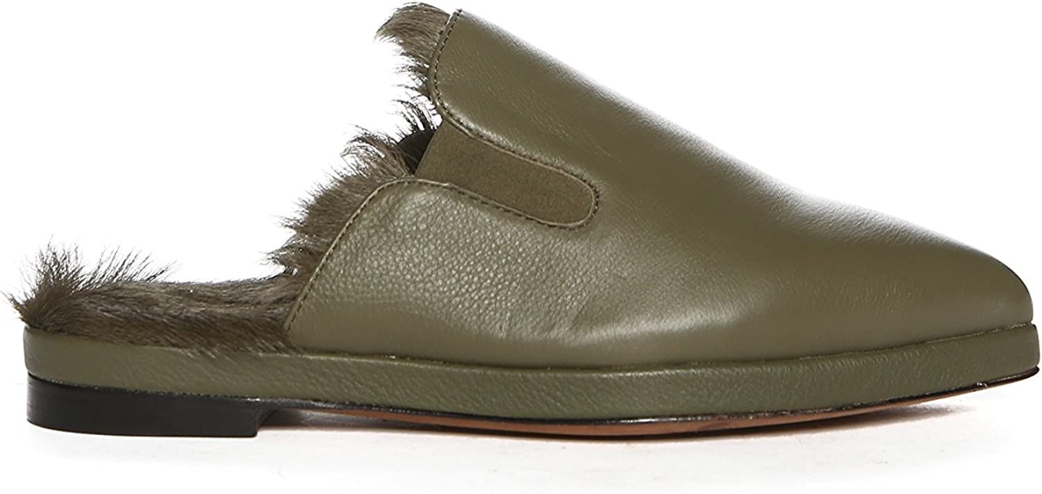 Luxe Co. Womens Kim-Goat Pointed Toe Mules, Army, Size 9.0