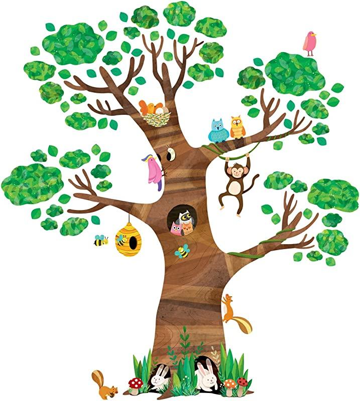 Decowall DL 1709 Giant Tree And Animals Kids Wall Decals Wall Stickers Peel And Stick Removable Wall Stickers For Kids Nursery Bedroom Living Room