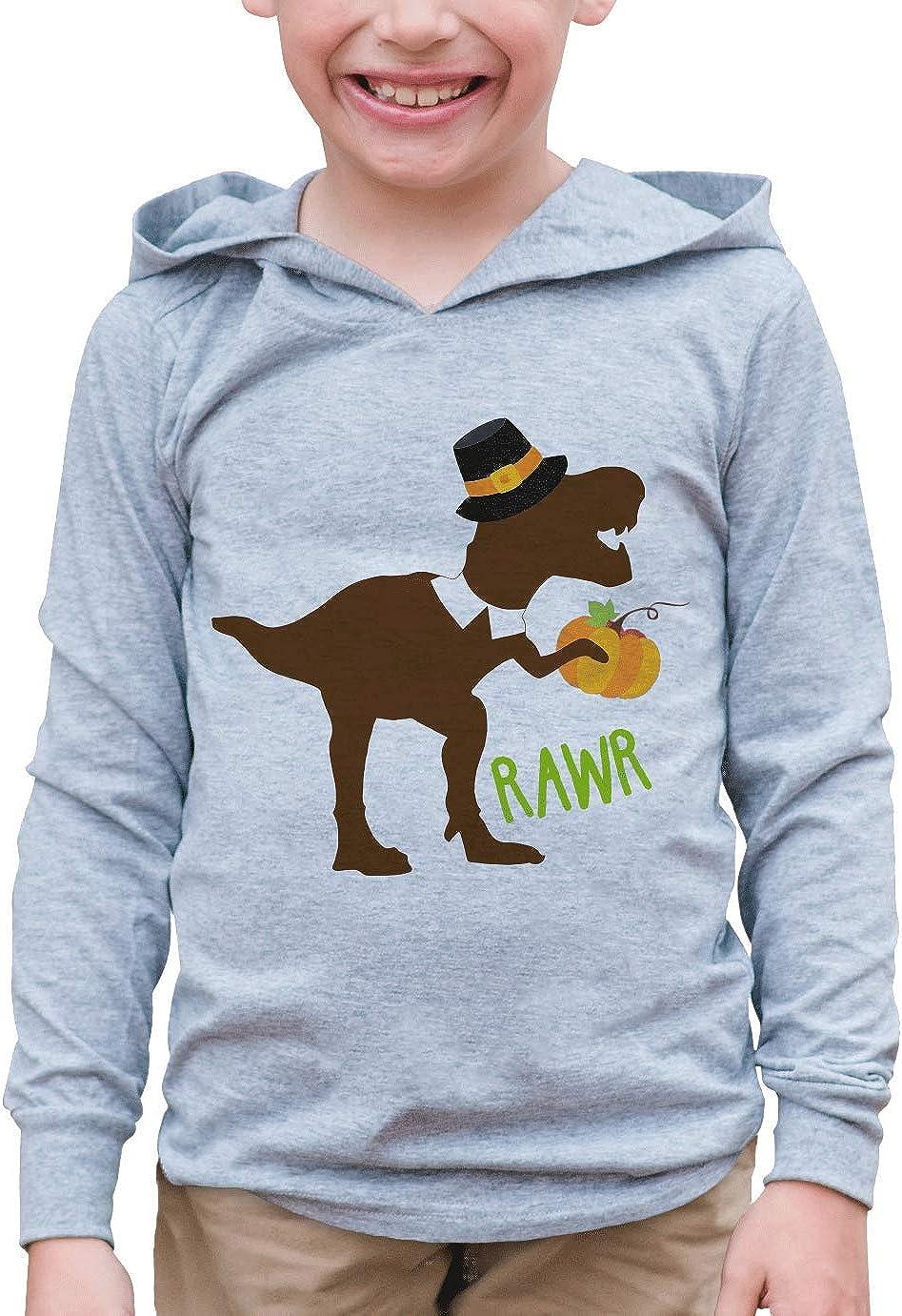 7 ate 9 Apparel Kid's Dino Pilgrim Thanksgiving Hoodie 5T Grey