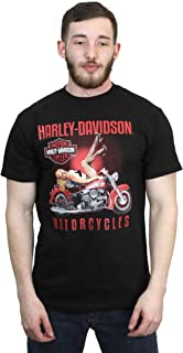 Mens Demeanor Pinup on Motorcycle Black Short Sleeve T-Shirt