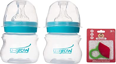 U-Grow Anti Colic Wide Neck Baby Feeding Bottle (Pack of 2) 125ml) (TRQ) with Silicone Watermelon Teether