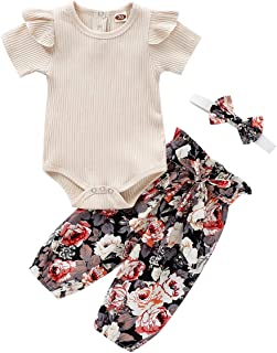 Baby Girls Long Sleeve Red Romper Floral Trouser Headband 3 Pieces Toddler Short Sleeve Outfits Set for 0-24 Months