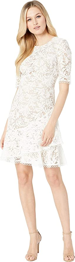 Lace Cap Sleeve A-Line Dress w/ Asymmetrical Ruffle Hem