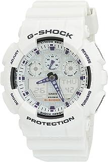 Casio Men's GA100A-7 G-Shock X-Large Analog-Digital White and Blue Sports Watch