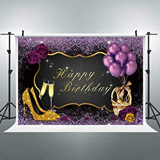Riyidecor Gold Purple Birthday Woman Backdrop High Heels Champagne Glass Photography Background 30th 40th Adult Woman Elegant 7x5 Feet Cake Table Banner Birthday Decor Props Party Photo Shoot Vinyl