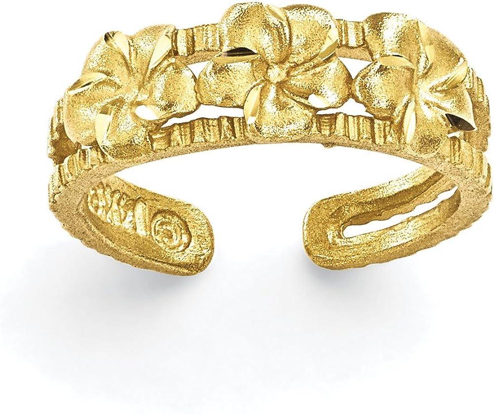 Women's 14K Yellow Gold Plumeria Toe Ring