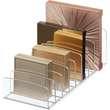 """iDesign Clarity BPA-Free Plastic Divided Makeup Palette Organizer, 9.25"""" x 3.86"""" x 3.2"""", Clear"""