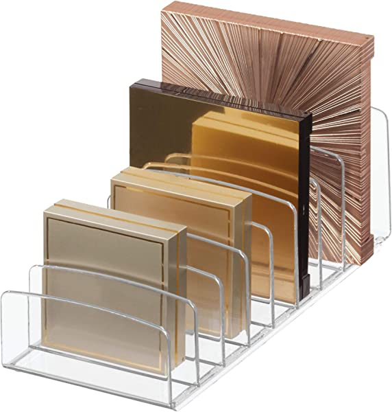 IDesign Clarity Vertical Plastic Palette Organizer For Storage Of Cosmetics Makeup And Accessories On Vanity Countertop Or Cabinet 9 25 X 3 86 X 3 20 Clear