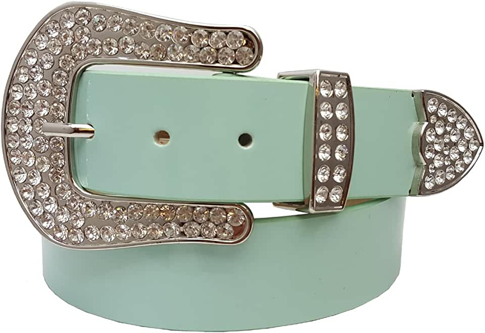 """1.5"""" Patent Leather belt with Western Crystal Buckle"""