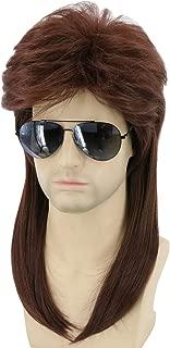 Topcosplay Long Wigs for Men Brown 80s Mullet Wig Redneck Wig Rocker Wig White Trash Halloween Costume Wig(Dark Brown)