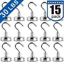 Heavy Duty Magnetic Hooks, Strong Neodymium Magnet Hook for Home, Kitchen, Workplace, Office and Garage, Pack of 15