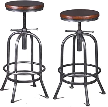 Diwhy Industrial Bar Stool-26-32 Inch Adjustable Swivel Metal Wood Stool Counter Height Bar Stool with Footrest-for Kitchen,D