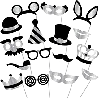 Silver Photo Booth Props - (No Glitter) Mix of Photobooth Props, Masks, Hats, Lips, Mustaches, Crowns (16 Count) - Perfect for Birthday Parties, Weddings and More