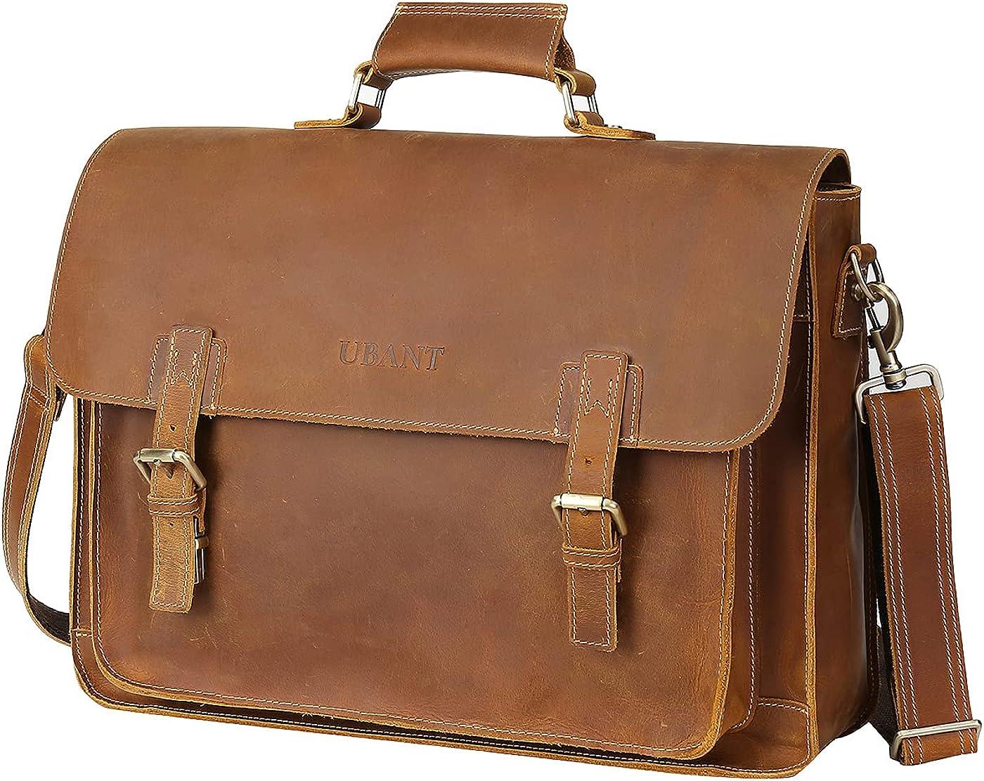 UBANT 5 ☆ very popular Leather Messenger Bag for New color Men Inch 17.3 Laptop F Briefcase