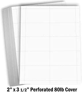 Hamilco Blank Business Cards Card Stock Paper – White Mini Note Index Perforated Cardstock for Printer – Heavy Weight 80 lb 3 1/2 x 2