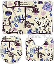 Bath Rugs for Bathroom Non-Slip Absorbent Bathroom Rug, Floral Print Flower Design Organism 3 Piece Bath Mat Set