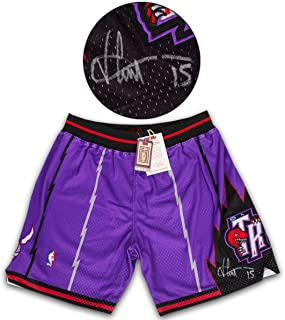 Vince Carter Toronto Raptors Signed Authentic Mitchell & Ness Basketball Shorts #/15 - NBA Autographed Miscellaneous Items