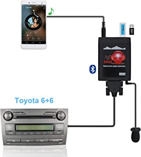 Bluetooth Car Adapter, Yomikoo Car MP3 USB/AUX 3.5mm Stereo Wireless Music Receiver Wireless Hands Free Auto Bluetooth Adapter for Toyota (6+6) Pin Camry Tacoma Corolla Tundra 4runner RAV4