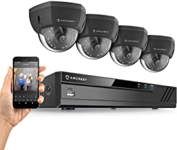 Amcrest UltraHD 4-Megapixel (2688 x 1520P) 4CH Network POE Video Security System (NVR Kit) - Four 4MP Outdoor Dome PoE IP Cameras (IP4M-1028EB), Power Over Ethernet (Black)