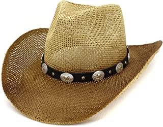 Sun Hat for men and women Summet Western Cowboy Straw Hat Men Sun Hat Women Outdoor Seaside Sunscreen Silver Rivet Decorative Sunhat Sunbonnet