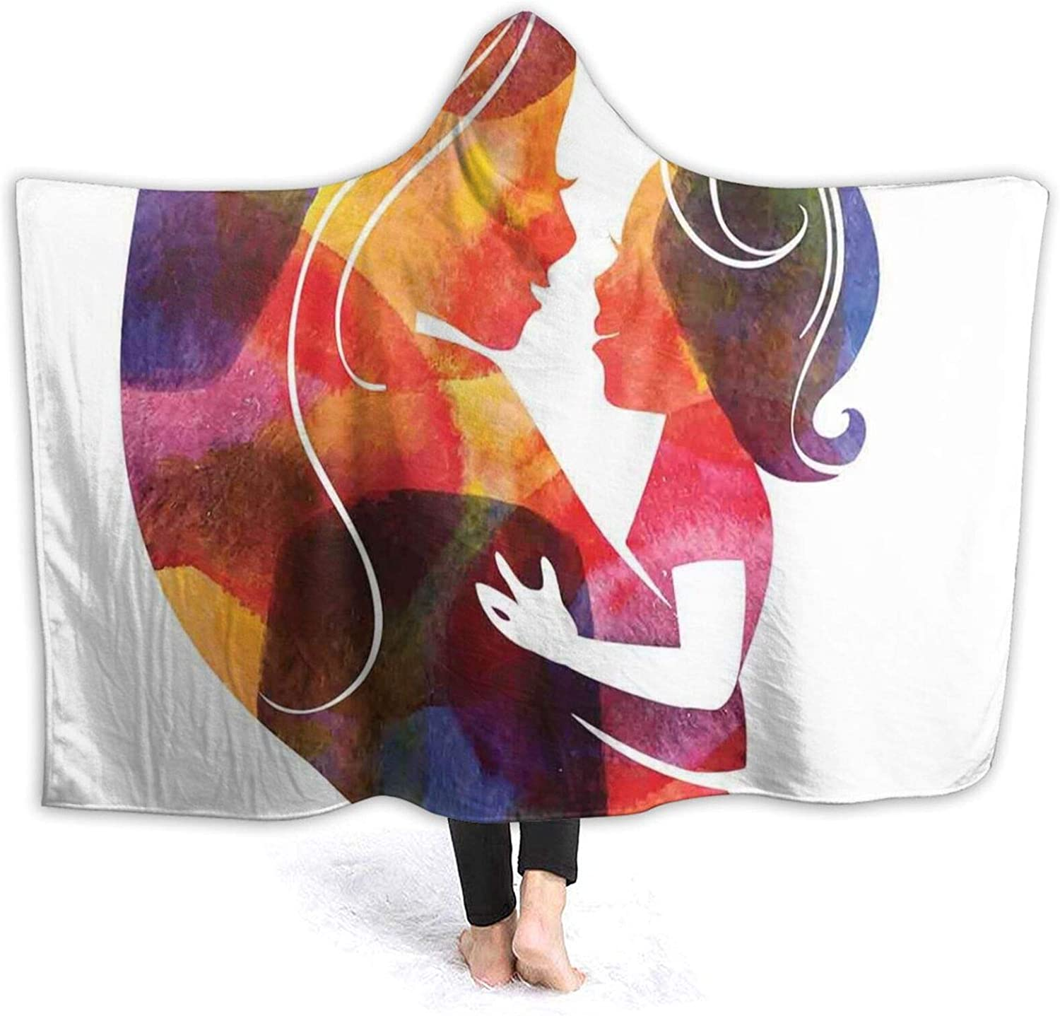 Hooded Blanket Anti-Pilling famous Flannel Style free Watercolor Mother Silh