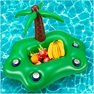 Biubee Inflatable Coconut Tree Drink Holder- Floating Beverage Salad Fruit Serving Bar, Cup Bottle Holder Pool Float Holds 4 Drinks for Kids Adults Summer Beach Swimming Pool Water Fun