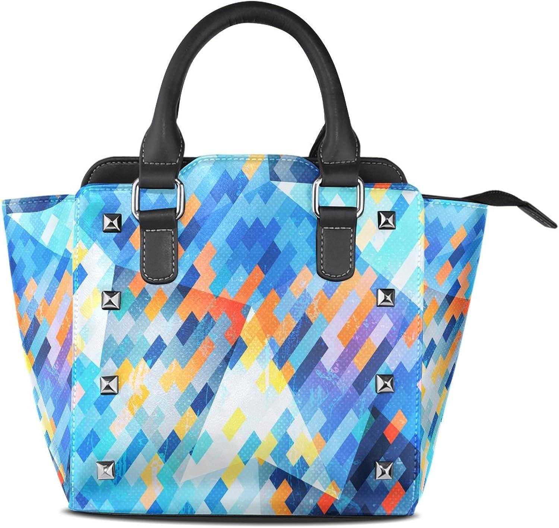 My Little Nest Women's Top Handle Satchel Handbag bluee Geometric Pattern Ladies PU Leather Shoulder Bag Crossbody Bag