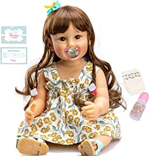 Reborn Toddler Doll 22inch Girl Soft Full Limbs Vinyl Silicone Body Newborn Baby Realistic Waterproof Weighted Blond Hair ...