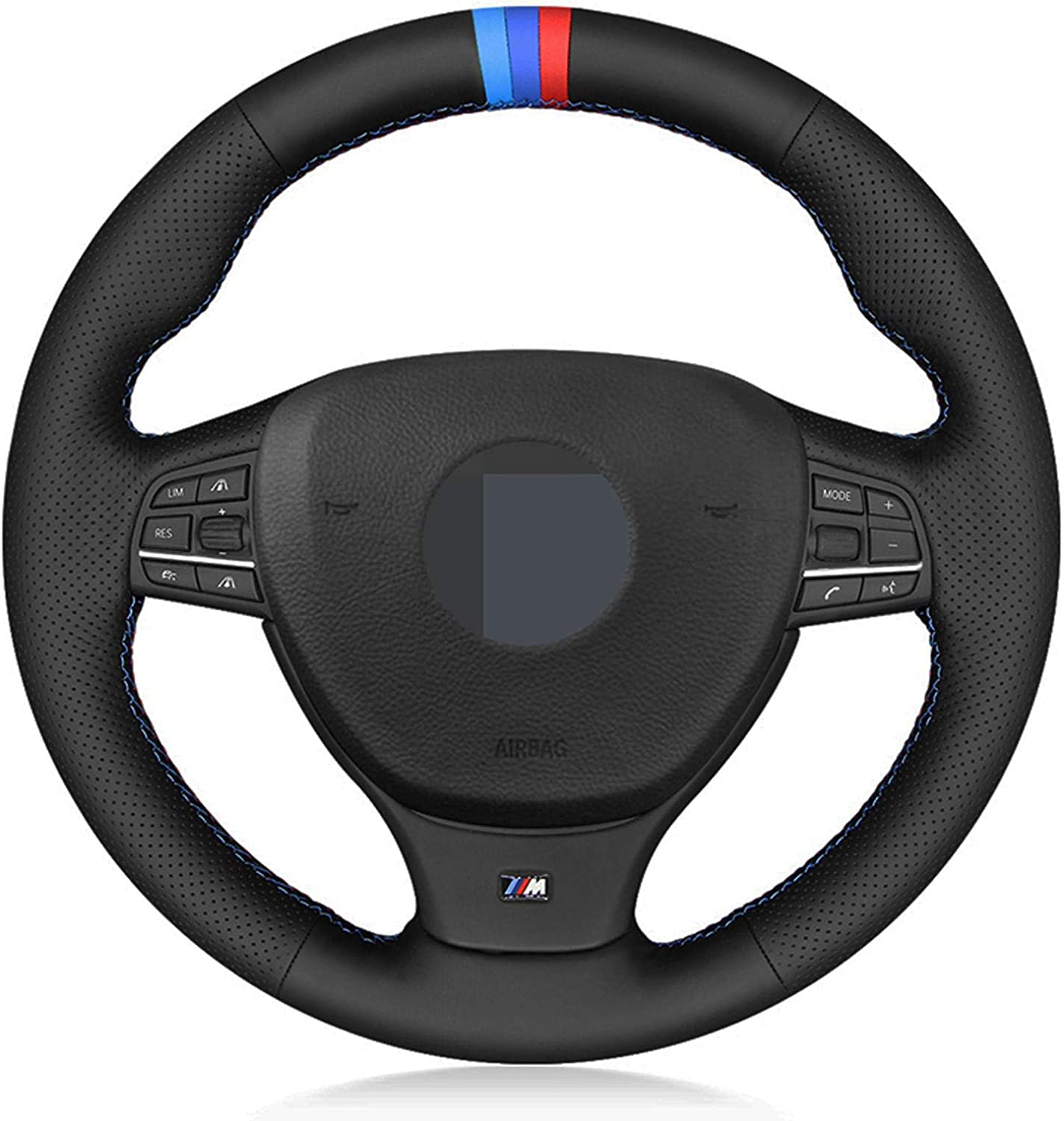 QIANKUNXIAN Deluxe Car Steering Wheel Cover specialty shop Leather Black Stitched Hand