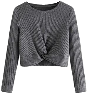 Romwe Girl's Cute Rib Knit Long Sleeve Twist Front Crew Neck Slim Fit Crop Tee Top Blouse