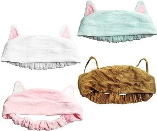 LONGWEIZ Women Elastic Velvet Cute Cat Ears Headbands Makeup Cosmetic Spa Facial Cleansing Beauty Tool Hair Band Cat Ears Headbands,Headband-Washable Facial Band,4 pcs (CAT4)